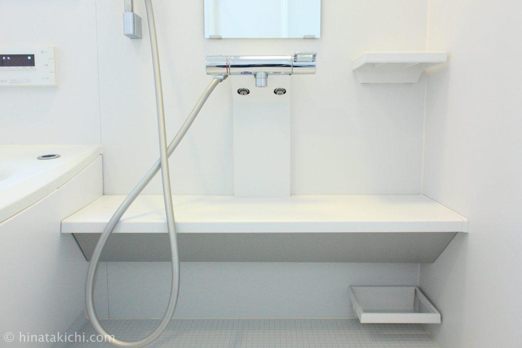 お風呂の蓋と収納棚を取り外し