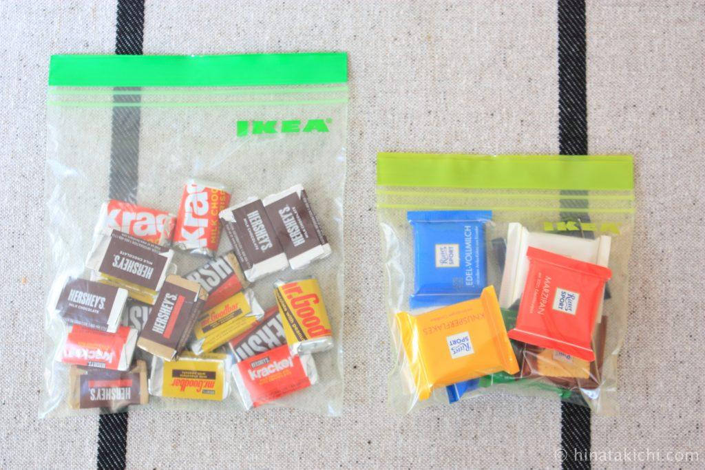 お菓子を保存バッグで保存