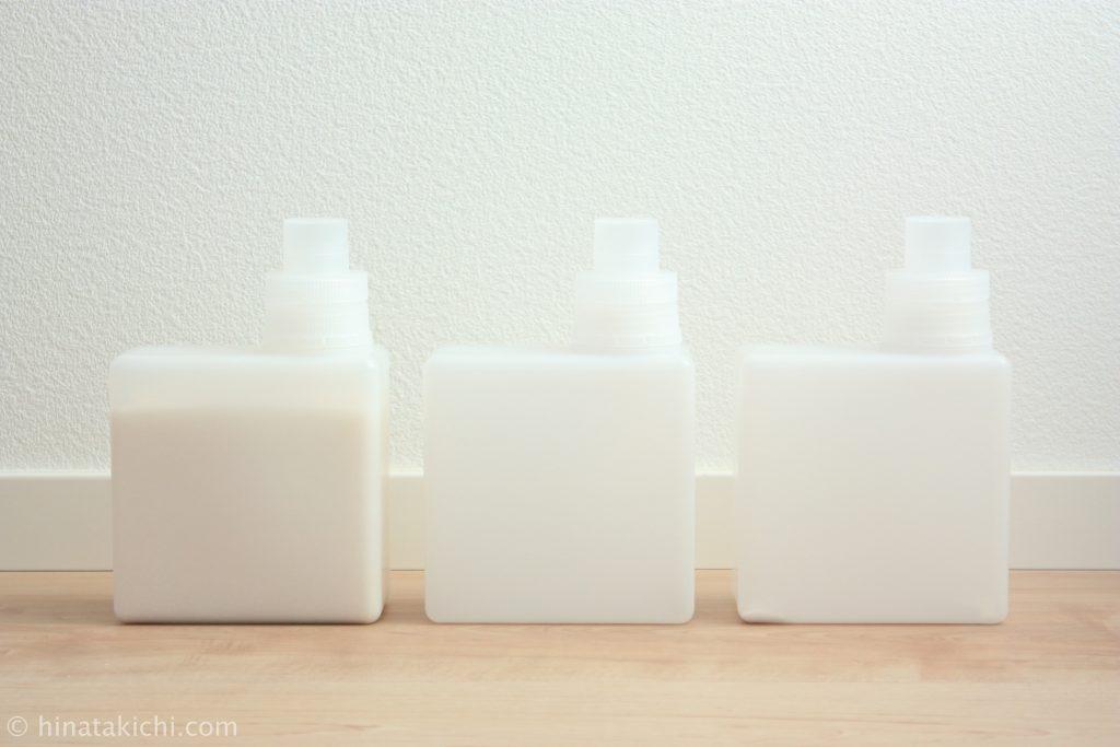 無印の入浴剤ボトルで重曹とクエン酸と酸素系漂白剤を保存