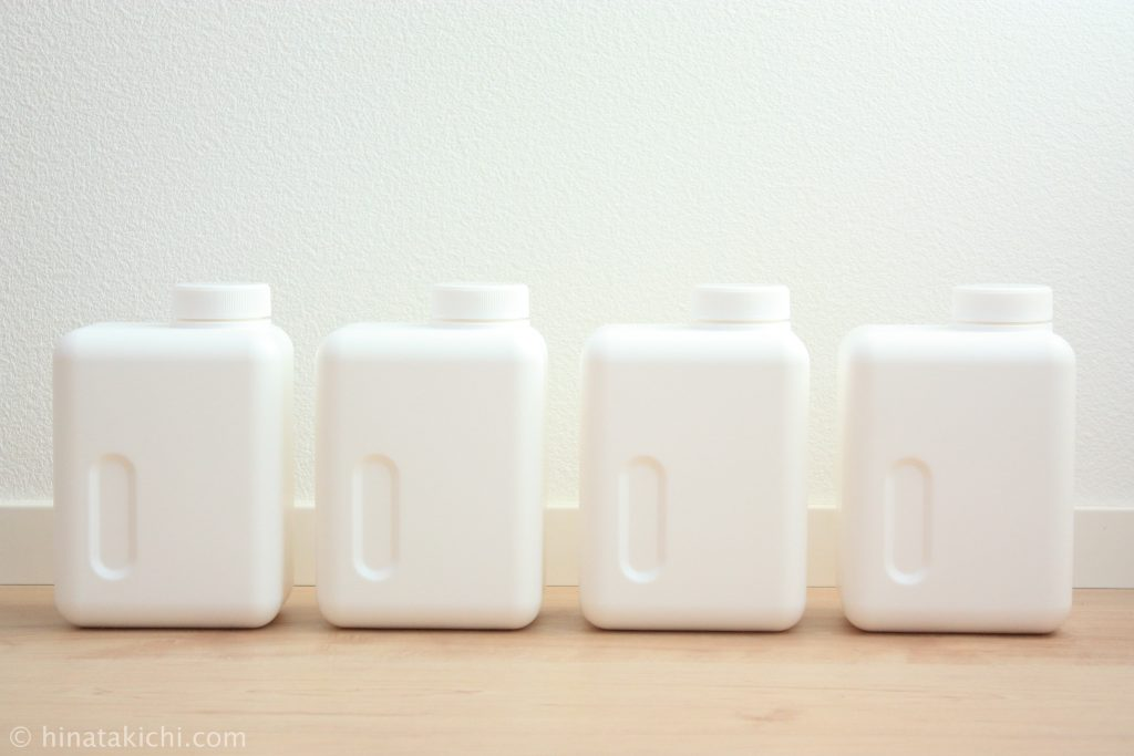 monotoneの四角いストックボトルで重曹とクエン酸と酸素系漂白剤を保存