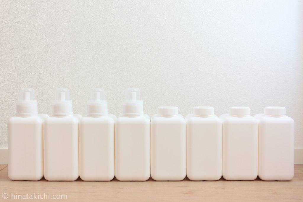 monotoneの四角いストックボトルと四角いランドリーボトル